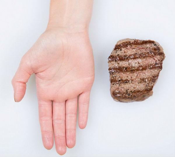 Правильный размер порции еды при помощи ладони