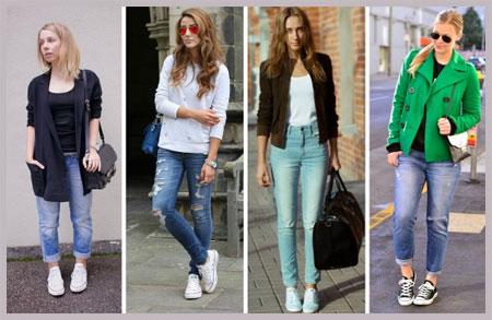 С чем носить высокие женские кеды